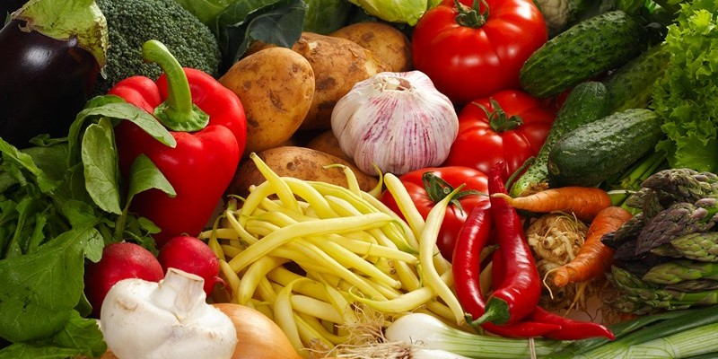 Fresh Vegetables ingredients of food colored photo