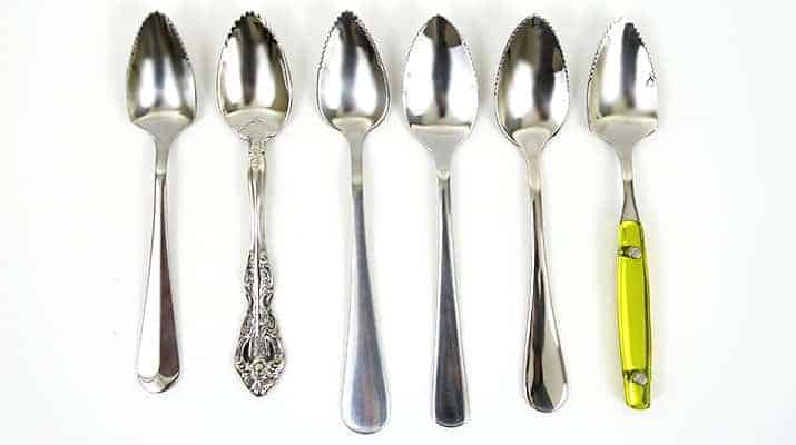 Different brands of grapefruit spoons