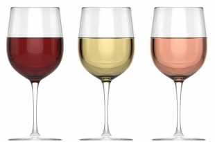 glass each of red, white and rose wine