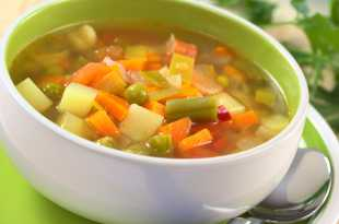 Chunky vegetable soup in a bowl