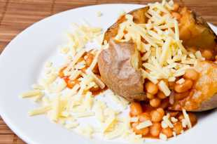 Baked potato with cheese and beans
